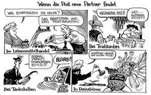 Karikatur Die Deutsche Post und Ihre Neuen Partner